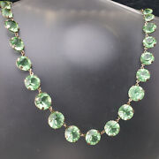 Atq Deco Open Back Hand Cut Peridot Green Crystal Necklace Etched Settings 15