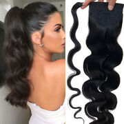 16in-24in Ponytail Clip In Wrap Around 100 Remy Human Hair Hair Extensions 120g
