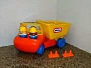 Vtg Little Tikes Yellow Toy Dump Truck 1985 With 2 People Rocks Cones Set Lot