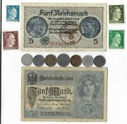 Rare Old Wwi Wwii Germany War Coin Note Ww2 German Collectible Collection Lot C9