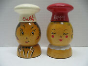 Vtg Wooden Chefs Salty Peppy Pair Anthropomorphic S/p Shakers Woodcroftery Mint