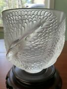 Lalique Crystal Round Floral Vase Andromeda Frosted Fish Tails 6 Inches Tall