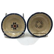 2 Signed Studio Art Pottery Bowls S. Pope Country Chic Amish Designs Blue Sponge