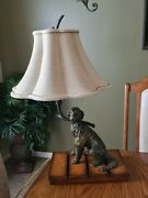 Vintage Maitland Smith Dog With Branch Lamp Table Parlor Desk Accent Lamp Rare