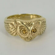 Gold Work Ring With Owl Motif In Gold For Ladies And Menand039s