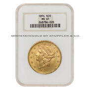 1894 20 Liberty Ngc Ms61 Graded Philadelphia Mint Gold Double Eagle Coin