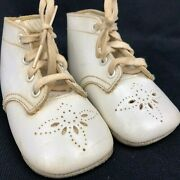 Vintage Antique Mrs Day's Ideal Baby Shoes White Lace Up Infant Crib Shoes 70's