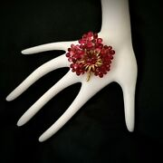 Monet Vintage Brooch Flower Gold Tone 3 Shades Pink And Red Crystals