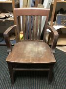 Antique/vintage Mission Solid Wood Banker Jury Office Arm Chair Johnson Chair Co