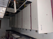 Off Demo Site-tall White / Red Metal Overhead Swinging Door Lab Storage Cabinets