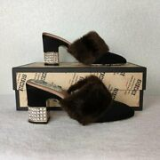 Women Mules Shoes Fabric Upper And Lea Crystal Heel Brown Black Sz 3.7 V28