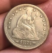 1874-s With Arrows Seated Liberty Quarter Vf Scarce