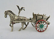 Miniature European 800 Solid Silver And Enamel Fancy Horse And Cart Figurine 39 G