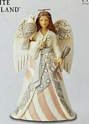 Jim Shore White Woodland Patriotic Angel With Eagle Strong Of Heart 6005256