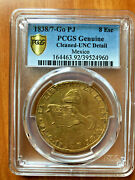 1838/7 Gopj 8 Escudo Mexico Gold Pcgs Unc Detail Cleaned Very Rare Coin