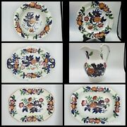 6 Pieces Antique Hicks And Meigh C1825 Strong Flowers 993 Ironstone Polychrome