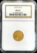 1910 Gold United States 2.5 Indian Head Quarter Eagle Coin Ngc Mint State 62