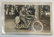 Rare Early Original Rppc Indian Motorcycle Cycle 1910s Photo Postcard