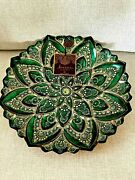 Vtg Artistic Accents Hand Decorated 13 Bowl/plate Green And Gold Made In Turkey
