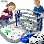 Small Train Set Electric Track Diy Car Racing Track Kids Toy Multilayer Spiral