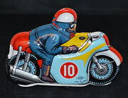 Very Nice Yone 1960's Tin Wind-up Motorcycle - Works Good