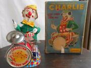 Super Rare Alps Drummer Clown Tinplate Toy With Box Electric