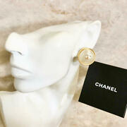 Earring Women 95a Pearl Coco Mark Gold Logo Round Authentic Rare W/box