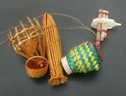 Set Antique Colorful Fishing Tool Basket Miniature Bamboo Woven Asian Xylophone
