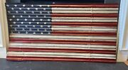 Large Rustic Reclaimed Barn Metal American Flag Wall Decor 48 X 26 Indoor/out