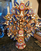 """21"""" Tree Of Life """"adam And Eve"""" Mexican Folk Art Clay Pottery Candelabra Mexico"""