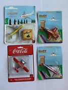 New Lot Of 4 Coca Cola Collectible Die Cast Planes Coke Toys Airplanes Nip
