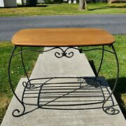 Longaberger Wrought Iron Hope Chest Side Table/stand W/ Wood Shelf