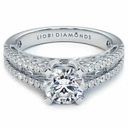 1.44 Carat F-si2 Natural Round Diamond Engagement Ring 18k Gold Vintage Style
