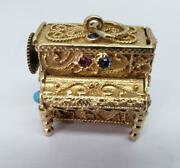 14k Yellow Gold Music Box Upright Piano Turquoise Ruby Sapphire Coral