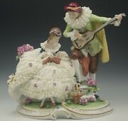 Unterweissbach Germany Dresden Lace Lovers Large Figurine Grouping Romantic