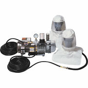 Two Worker Tyvek Hood Respiration System- 1 Pump Two 50in. Breathing Air Hoses