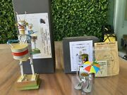Tin Toys Germany Tand W 2 Robots Battery And Windup Handmade Decorative Video