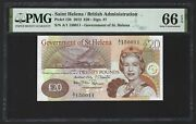 St Helena 20 Pounds 2012 P-13b S/n 150011 11 For Date Pmg 66 Epq Gem Unc