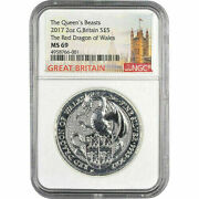 2017 U.k. Andpound5 Silver Queenand039s Beasts Red Dragon Of Wales 2oz Ngc Ms69 Tower Label