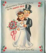 Mid Century Bride Groom Kitchen Cooking Dog Fruit Roses S And P Oven Greeting Card