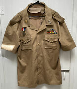 Vintage Military Button Down Shirt W Lots Of Medals 2 Star Size Xxl