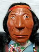 1920and039s Minnetonka Skookum American Indian Doll And Box - Eyes Looking Straight