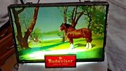 Antique Budweiser Lighted Sign W/ Clydesdale Horse 1950's