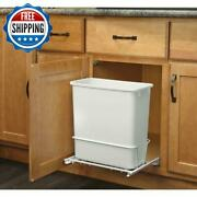 5 Gallon Pull Out Trash Can Garbage Plastic Container Bathroom Bedroom White