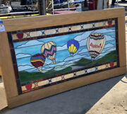 Vintage Applebeeandrsquos Stained Glass Hot Air Balloon Mural.