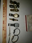Lot Of 8 Metal Ladies Mens Watches Vintage Diamond Movement 10k Gold Band