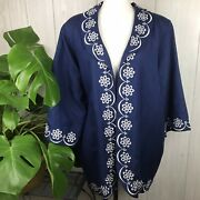 Bob Mackie Linen Blend Jacket Navy Blue Lined Embroidered Size 1xl Wearable Art