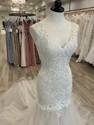 Wedding Gown Adaleine Antique Ivory Size 10 Lace Open Low Back