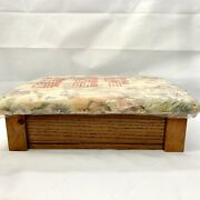 Vintage Powell Tapestry Storage Ottoman Foot Stool Sewing Box Hinged Lid