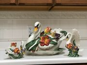 Fitz And Floyd Tulip Swan 1995 Tureen W/ladle Platter 2 Candle Holders And Pitcher